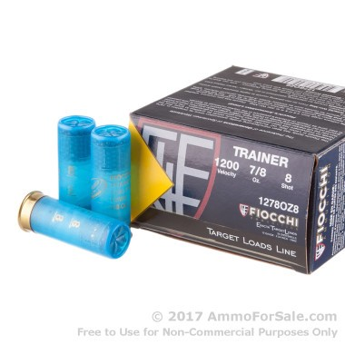 250 Rounds of 7/8 ounce #8 shot 12ga Ammo by Fiocchi