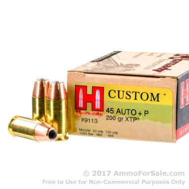 20 Rounds of 200gr JHP +P .45 ACP Ammo by Hornady