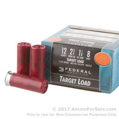 25 Rounds of 1 1/8 ounce #8 shot 12ga Ammo by Federal