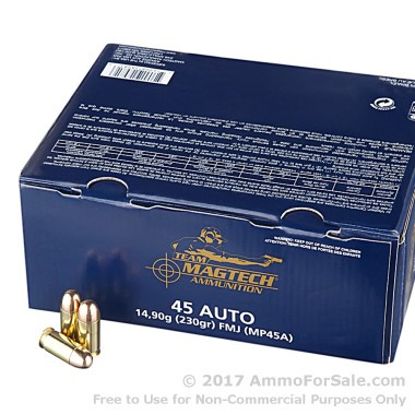 250 Rounds of 230gr FMC .45 ACP Ammo by Magtech