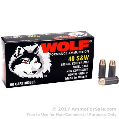 50 Rounds of 180gr FMJ .40 S&W Ammo by Wolf
