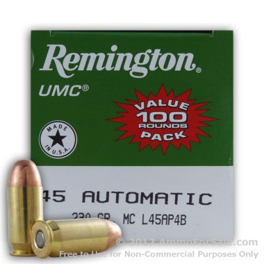 600 Rounds of 230gr MC .45 ACP Ammo by Remington