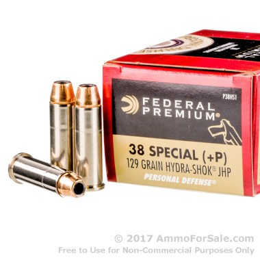 20 Rounds of 129gr JHP .38 Spl P+ Ammo by Federal Premium Hydra-Shok