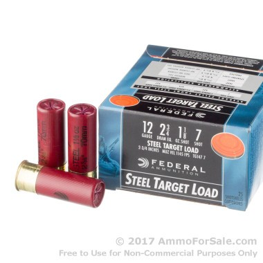 25 Rounds of 1 1/8 ounce #7 Shot (Steel) 12ga Ammo by Federal