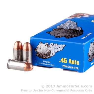 50 Rounds of 230gr FMJ .45 ACP Ammo by Silver Bear
