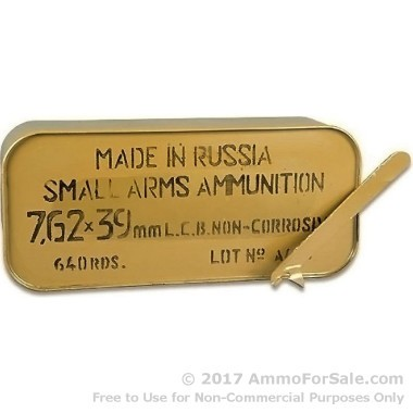 640 Rounds of 122gr HP 7.62x39mm Ammo by Tula in Metal Container