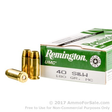 50 Rounds of 180gr MC .40 S&W Ammo by Remington