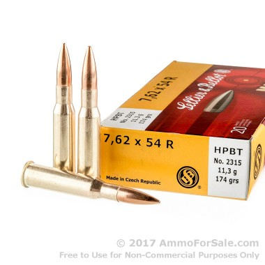 20 Rounds of 174gr HPBT 7.62x54r Ammo by Sellier & Bellot