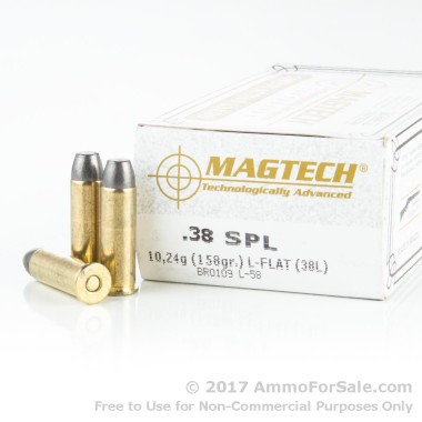 50 Rounds of 158gr LFN .38 Spl Ammo by Magtech