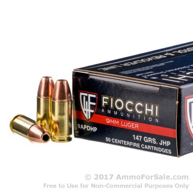 1000 Rounds of 147gr JHP 9mm Ammo by Fiocchi