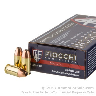 50 Rounds of 90gr JHP .380 ACP Ammo by Fiocchi