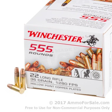 555 Rounds of 36gr CPHP .22 LR Ammo by Winchester