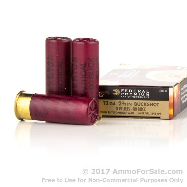 5 Rounds of  00 Buck 12ga Ammo by Federal LE Tactical with 8 Pellets