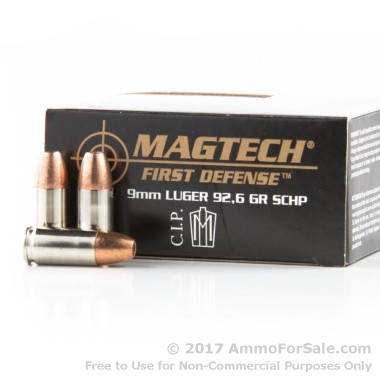 20 Rounds of 92.6gr SCHP 9mm Ammo by Magtech First Defense