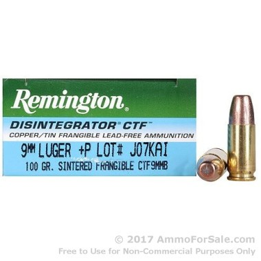 50 Rounds of 100gr Frangible Disintegrator 9mm +P Ammo by Remington