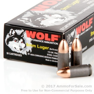 1000 Rounds of 115gr FMJ 9mm Ammo by Wolf