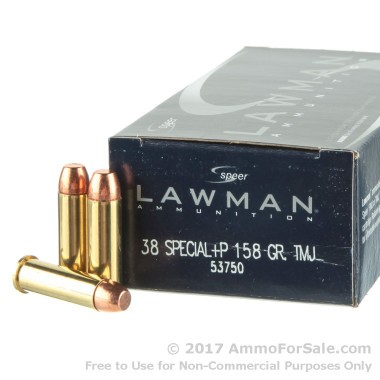 50 Rounds of 158gr TMJ .38 Spl +P Ammo by Speer Lawman