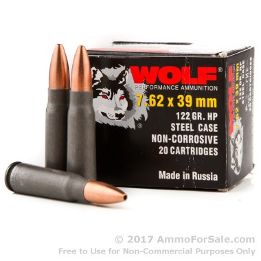 1000 Rounds of 122gr HP 7.62x39mm Ammo by Wolf