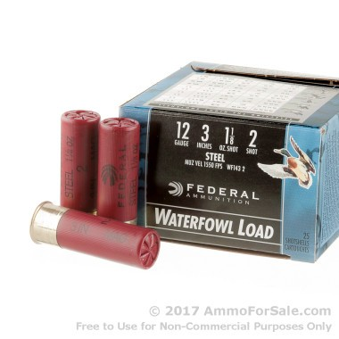 25 Rounds of 1 1/8 ounce #2 Shot (Steel) 12ga Ammo by Federal