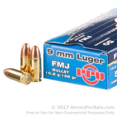 50 Rounds of 158gr FMJ 9mm Ammo by Prvi Partizan