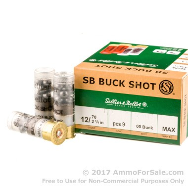 25 Rounds of  00 Buck 9 Pellet 12ga Ammo by Sellier & Bellot