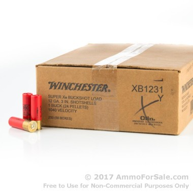 250 Rounds of  #1 Buck 12ga Ammo by Winchester