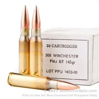 20 Rounds of 145gr FMJBT .308 Win Ammo by Prvi Partizan