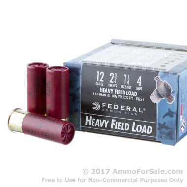 250 Rounds of  #4 shot 12ga Ammo by Federal