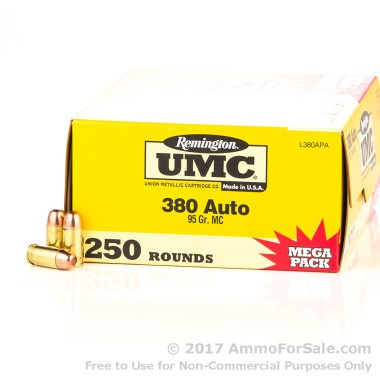 1000 Rounds of 95gr MC .380 ACP Ammo by Remington