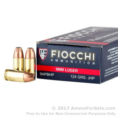50 Rounds of 124gr JHP 9mm Ammo by Fiocchi