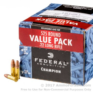 525 Rounds of 36gr CPHP .22 LR Ammo by Federal