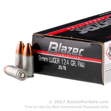 50 Rounds of 124gr FMJ 9mm Ammo by CCI