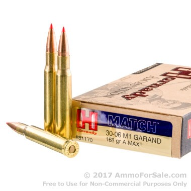 20 Rounds of 168gr Match A-MAX 30-06 Springfield Ammo by Hornady