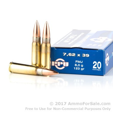 20 Rounds of 123gr FMJ 7.62x39mm Ammo by Prvi Partizan