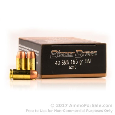 1000 Rounds of 165gr FMJ .40 S&W Ammo by Blazer Brass