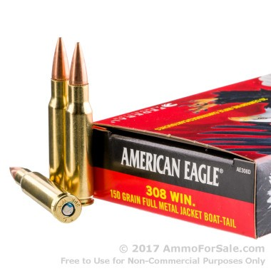 20 Rounds of 150gr FMJBT .308 Win Ammo by Federal