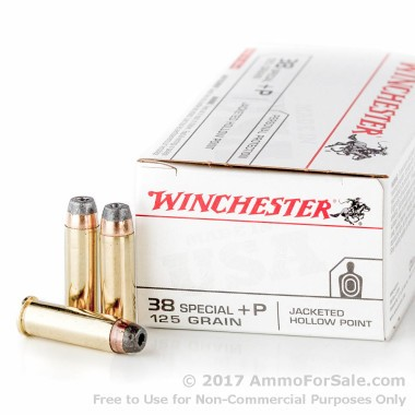 50 Rounds of 125gr JHP +P .38 Spl Ammo by Winchester
