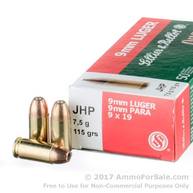 50 Rounds of 115gr JHP 9mm Ammo by Sellier & Bellot