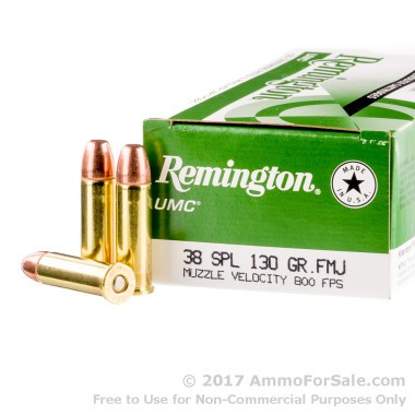 50 Rounds of 130gr MC .38 Spl Ammo by Remington