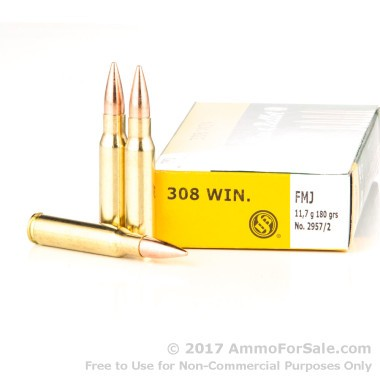 20 Rounds of 180gr FMJ .308 Win Ammo by Sellier & Bellot