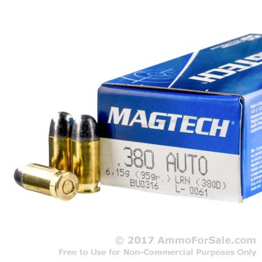 50 Rounds of 95gr LRN .380 ACP Ammo by Magtech