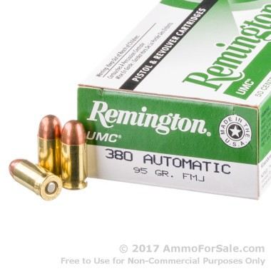 500 Rounds of 95gr MC .380 ACP Ammo by Remington