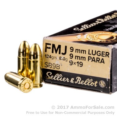 50 Rounds of 124gr FMJ 9mm Ammo by Sellier & Bellot