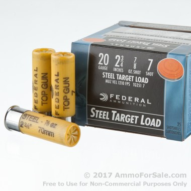 25 Rounds of 7/8 ounce #7 Shot (Steel) 20ga Ammo by Federal