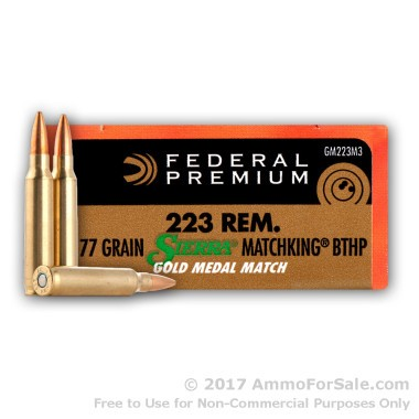20 Rounds of 77gr HPBT .223 Ammo by Federal