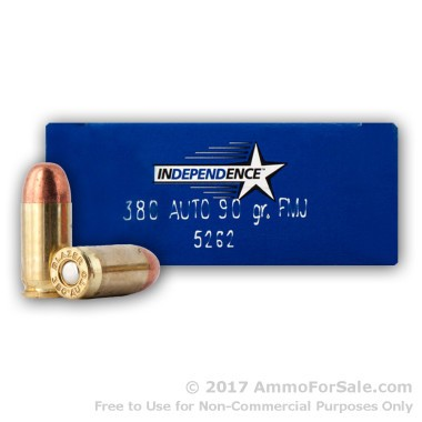50 Rounds of 90gr FMJ .380 ACP Ammo by Independence
