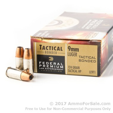 50 Rounds of 124gr JHP 9mm Ammo by Federal