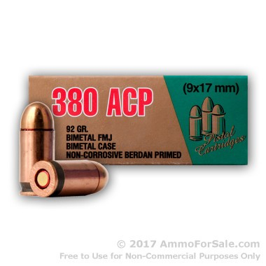 35 Rounds of 92gr FMJ .380 ACP Ammo by LVE