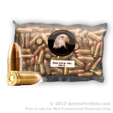 100 Rounds of 124gr FMJ 9mm Ammo by M.B.I.