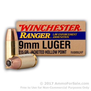 500  Rounds of 115gr JHP 9mm Ammo by Winchester